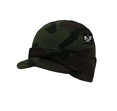Acrylic Knitted Winter Jeep Beanie Cap with Visor Woodland Camo (Fatigue Style Hat)
