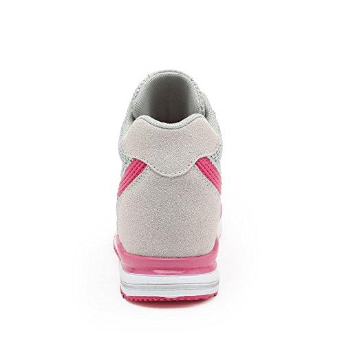 LILY999 Interna Sportive Zeppa Tacco Zeppa Sneakers Fitness CM Bianco Scarpe Donna da Ginnastica Basse Grigio Nero Grigio 7 wrxwU8qg