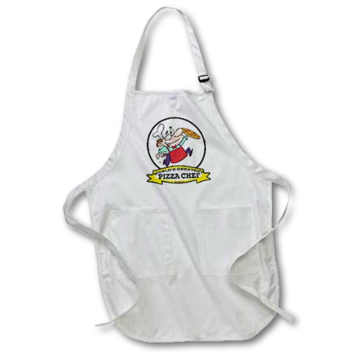 3dRose apr_103445_2 Funny Worlds Greatest Pizza Chef Occupation Job Cartoon-Medium Length Apron with Pouch Pockets, 22 by 24-Inch