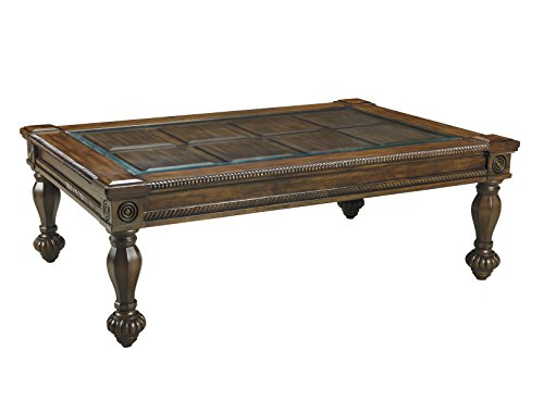 Ashley Furniture Signature Design - Mantera Coffee Table - Cocktail Height - Rustic Style - Rectangular - Dark Brown with Beveled Glass Top