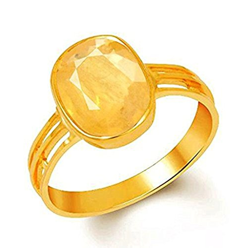 GEMS HUB Gemstones 6.5 Carat 7.25 Ratti Natural Certified Yellow Sapphire Pukhraj Gemstone Panchdhatu Ring