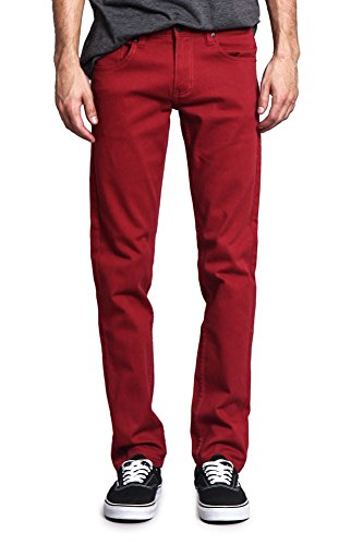 Victorious Men's Skinny Fit Color Stretch Jeans DL937 - Rust - 32/34 ()