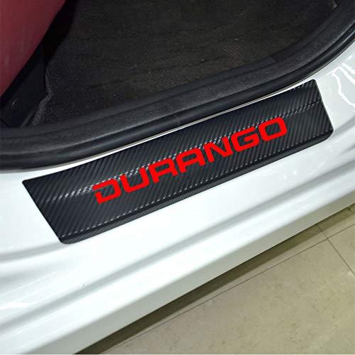 SENYAZON Car Threshold Pedal Sticker for Dodge Durango Decoration Scuff Plate Carbon Fibre Vinyl Sticker Car Accessories car-Styling (Red)
