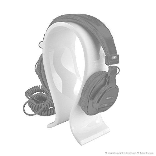 Acrylic Omega Headphones Stand / Headset Holder / Desk Display Hanger, Fit Audio-Technica, Bose QC3, QC2, QC15, AE2, AKG, Sennheiser, JVC, Philips, Monster Beats Studio Solo, Logitech DJ, Professional, Gaming Headset and Many Earphones (White) Review