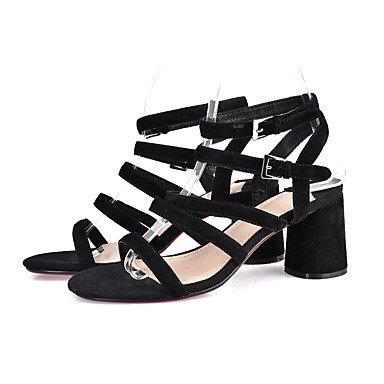 LvYuan Mujer-Tacón Robusto-Gladiador-Sandalias-Oficina y Trabajo Vestido Fiesta y Noche-Ante-Negro Beige Black