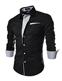 Men's Chic Casual Button Down Dress Shirts Long Sleeve Slim Fit Contrast Color