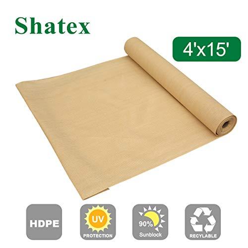 Shatex - Rollo de tela para visualización vertical de porche, 90% de sombra de sol, color beige