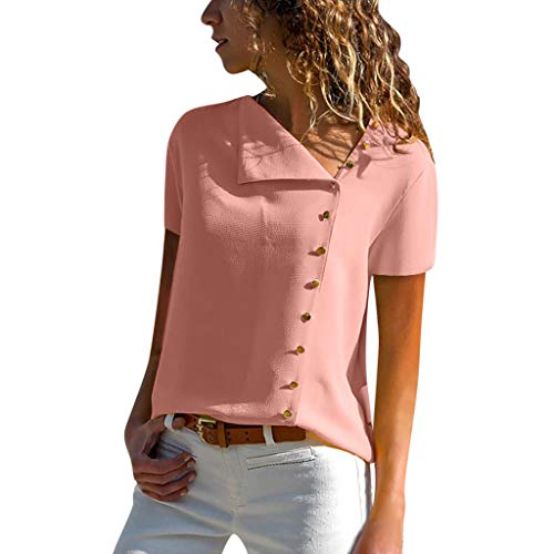 Womens Casual Lapel Neck T-Shirt Ladies Short Sleeve Buckle Blouse Tops D Pink