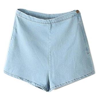 7bfcb25688 Woman's Denim Shorts - TOOGOO(R)Woman's Summer High Waist Denim Shorts Slim  Ripped Skinny Hot Tight A Side Button Pom Jeans Short, Light blue XL: ...