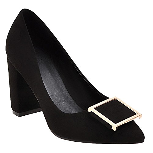 Carolbar Women's Solid Color Charm High Heel Pointed Toe Court Shoes Black