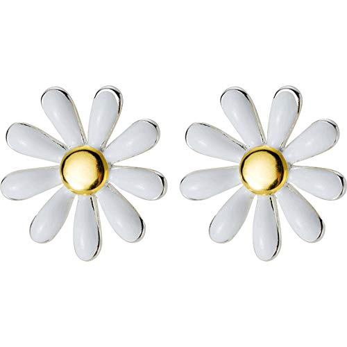 Mariafashion Flower Earring Stud, Sterling Silver Two-Tone White Daisy Flower Earrings Hypoallergenic Post Earrings for Women Girls ()