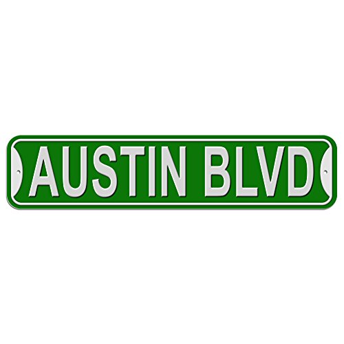 Austin Blvd Boulevard Sign - Plastic Wall Door Street Road Male Name - Green