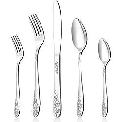 Silverware Set, 20-Piece Flatware Set, LIANYU Stainless Steel Cutlery Set for 4, Mirror Finished, Elegant Patterns, Dishwasher Safe