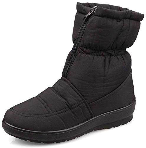 Kemosen Women Waterproof Snow Boot Ladies Winter Faux Fur Anti Slip Warm Outdoor Ankle Boots Black-2