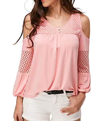 Nu Printemps Longues Tops Femmes Blouse T Tees Rose Manches Epaule Hauts Fashion Shirts et Shirts Automne Casual xYqz0rY4