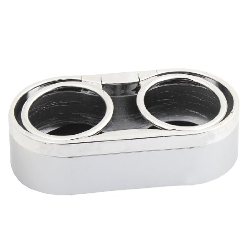 uxcell Silver Tone Plastic Double Hole Cup Car Drink Bottle Can Holder Stand