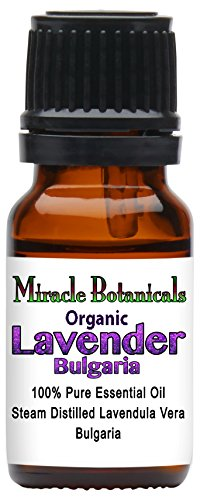 Miracle Botanicals Organic Bulgarian Lavender Essential Oil - 100% Pure Lavendula Vera - 10ml or 30ml Sizes - Therapeutic Grade - 10ml