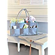 GoRu Baby Portable Diaper Caddy Organizer With Changing Pad –Sleek Felt, Reinforced Handles, Comfy Side Pocket, Spacious Compartments –For Toys, Burp Cloths, Pacifiers, Creams, Bibs, Wipes & More