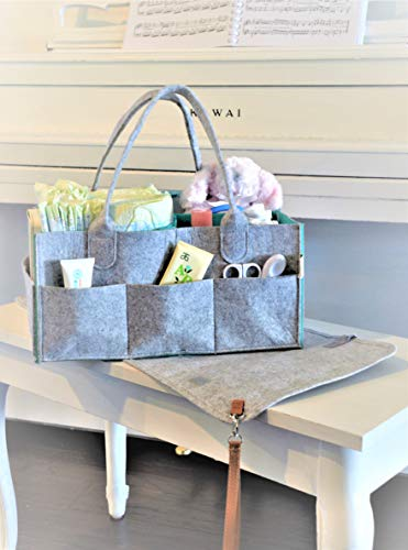 GoRu Baby Portable Diaper Caddy Organizer With Changing Pad –Sleek Felt, Reinforced Handles, Comfy Side Pocket, Spacious Compartments –For Toys, Burp Cloths, Pacifiers, Creams, Bibs, Wipes & More by GoRu Baby