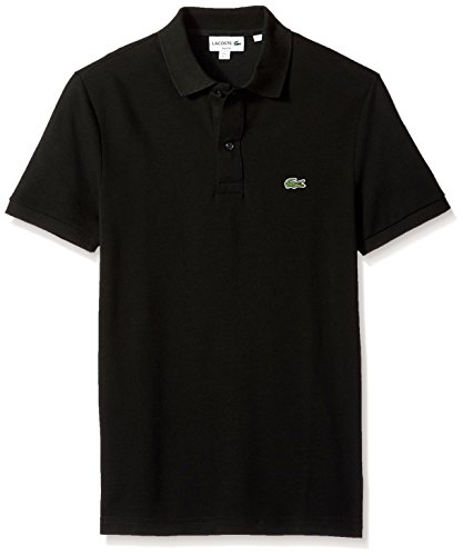 Lacoste Men's Classic Pique Slim Fit Short Sleeve Polo Shirt, PH4012-51, Black, Small -
