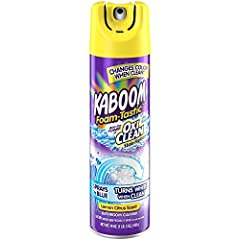 Kaboom Foam-Tastic with OxiClean Citrus Scent Bathroom Cleaner takes the guess work out of cleaning. Our color changing formula sprays on blue and turns white when its ready to wipe. Powerful OxiClean stain-fighting bubbles do the hard work a...