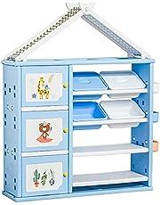 Qaba Kids toy Organizer and Storage Book Shelf with shelves, storage cabinets, storage boxes, and storage baskets, Blue
