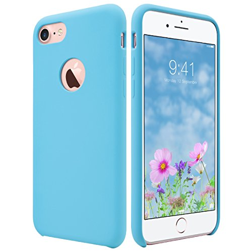 iPhone 7 Case, ULAK [Silicone Slim] [Blue] - [Flexible] [Shock Absorbing] Liquid Silicone Gel Rubber Shockproof Case Cover with Soft Microfiber Cloth Lining Cushion for Apple iPhone 7 2016 Release