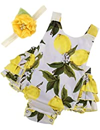f9ca0560c7ac Baby Girl s Floral Print Ruffles Romper Summer Clothes with Headband