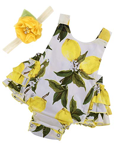 PrinceSasa Baby Girl's Clothes Yellow Lemon Floral Ruffles Summer Cake Smash Romper and Headband for Newborn Gifts,A6,13-24 Months(Size L)