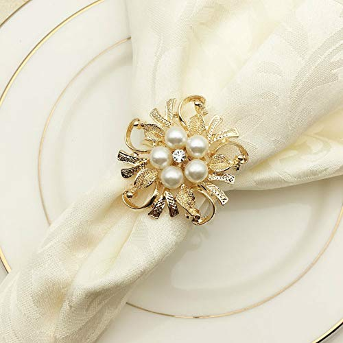 SCTD Pearl Napkin Rings Set of 6 - Flower Napkin Ring Holders for Wedding Party Home Kitchen Dining Table Decoration (Golden Flower New)