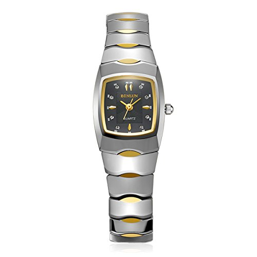 Binlun Ladies Rectangle Quartz Watch Waterproof 18K Gold Plated Tungsten Watches for Women