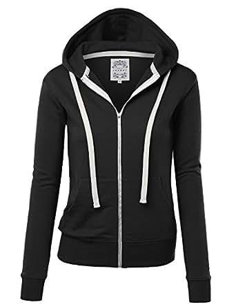 MBJ WSK954 Womens Active Fleece Zip Up Hoodie Sweater Jacket S BLACK