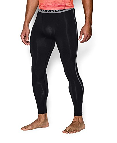 Under Armour Men's HeatGear Armour Compression Leggings, Black /Steel, XX-Large by Under Armour (Image #2)