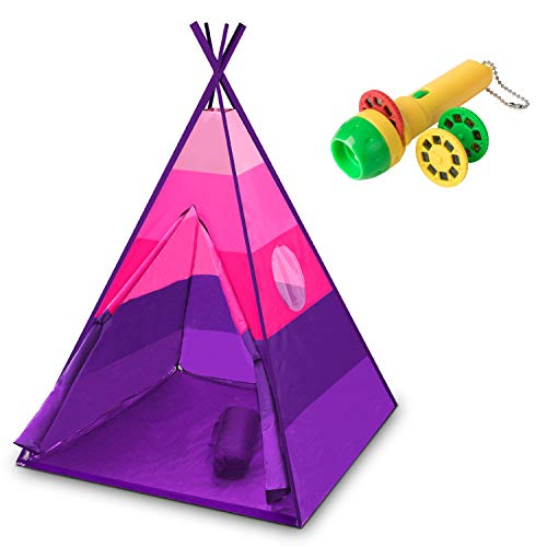 USA Toyz Kids Teepee Tent for Girls or Boys - Indoor Outdoor Beach Play Tent, Collapsible Baby Toddler Tent w/ Safari Flashlight Projector & Tote (Pink) (Pink Purple Tent)