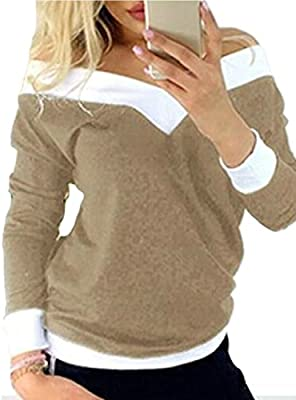 Wsplyspjy Women S Long Sleeve Off Shoulder Tops Stretch T