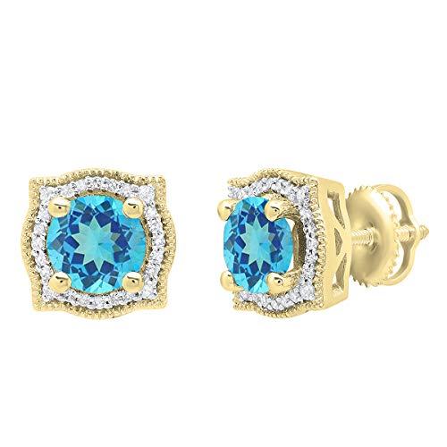 (10K 6 MM Each Round Blue Topaz & White Diamond Ladies Halo Stud Earrings, Yellow Gold)