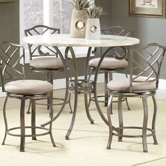 Hillsdale Brookside Counter Height 5-Piece Dining with Hanover Stools, Brown Powder Coat Finish, Set Includes 1-Table and 4 Stools