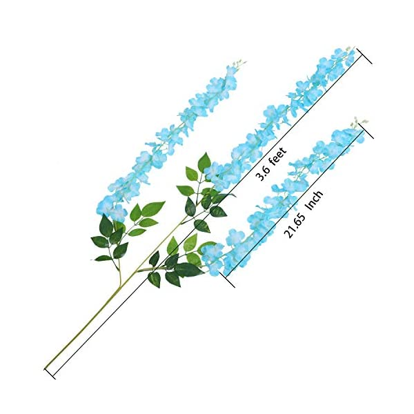 U'Artlines 24 Pack 3.6 Feet/Piece Artificial Fake Wisteria Vine Ratta Hanging Garland Silk Flowers String Home Party Wedding Decor Extra Long and Thick (24, Blue)