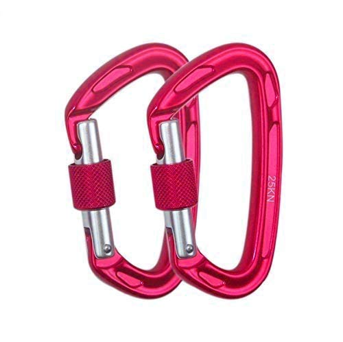 25KN Ultra-Light Locking Climbing Carabiner,7075 Aircraft-Grade Aluminum Rated up to 5600 lbs - Professional Fall Protection Accessory for Climbing, Search & Rescue, Hiking and Hammock Suspension