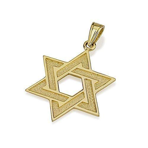 Baltinester Solid 14k Gold Florentine Finish Woven Star of David Pendant Jewish Jewelry