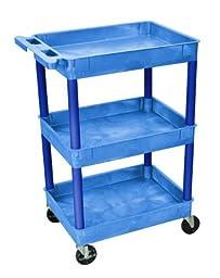 Luxor BUSTC111BU Tub Cart - Three Shelves