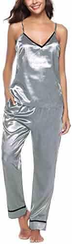 Leorvun Womens Silk Pajamas Satin Camisole Cami Sleeveless Vest Sleepwear  Nightwear PJ Set 6ef204970