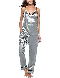 07e72bd36 Womens Silk Pajamas Satin Camisole Cami Sleeveless Vest Sleepwear Nightwear  PJ Set