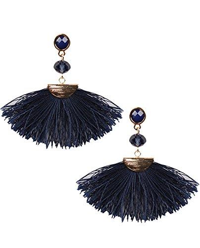 Women's Glass Bead Short Fan Fringe Tassel Dangle Pierced Earrings, Navy/Gold-Tone -