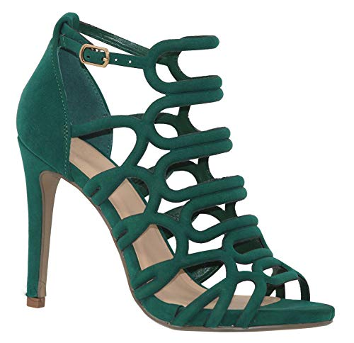 (MVE Shoes Women's Open Toe Cutout Design Comfortable High Heels Stiletto Dress Sandals, London Green NBPU 7 )