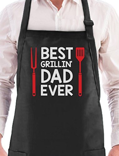 Best Grillin' Dad Ever Funny Father's Day Gift for Dad BBQ Grilling Chef Apron One Size Black