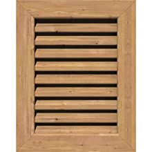 """Ekena Millwork GVWVE16X2001SFUWR Unfinished, Functional, Smooth Western Red Cedar 16"""" Width x 20"""" Height Vertical Gable Vent with 1"""" x 4"""" Flat Trim Frame"""