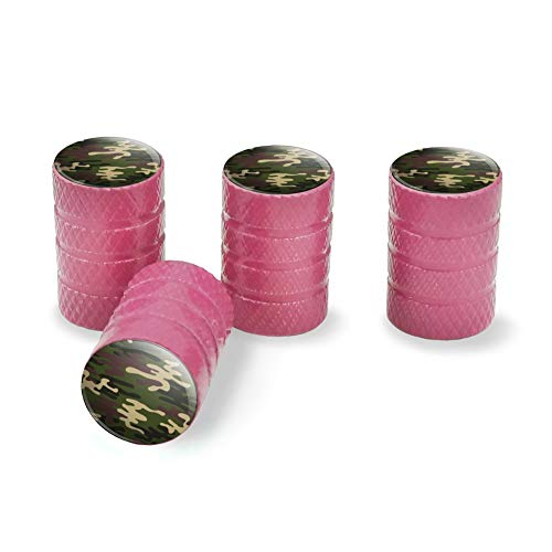 - Graphics and More Green Camouflage Tire Rim Wheel Aluminum Valve Stem Caps - Pink