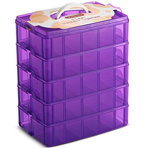 LifeSmart USA Stackable Storage Container Purple 50 Adjustable Compartments Compatible with Lego Dimensions LOL Surprise Littlest Pet Shop Arts and Crafts and More (5 Tier) (Lps Hat Box)