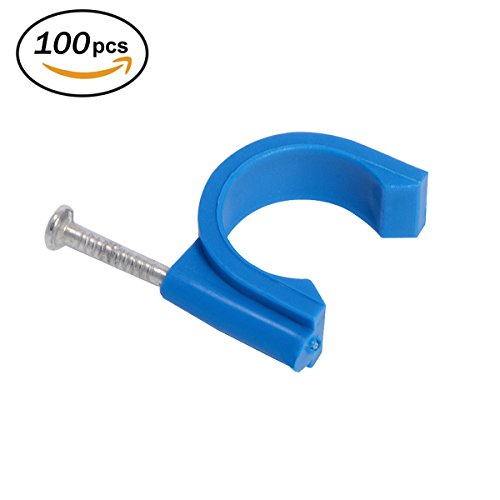 Firecore 3/4 Inch Tube Clamp with Nail Blue for Wire Pipe, Cable, Water Pipe (100pack)